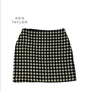 Ann Taylor Wool Gingham Pattern Lined Skirt 6